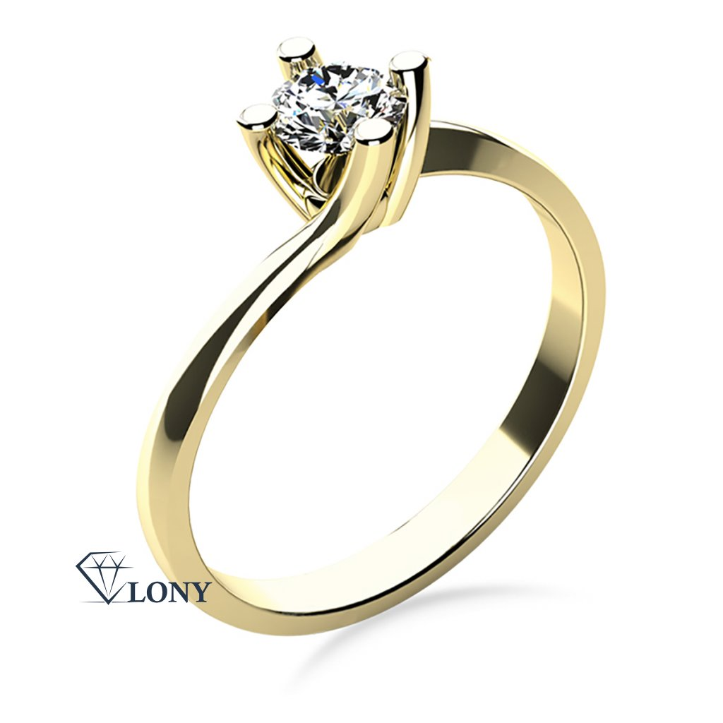 Zásnubní prsten Sivan, žluté zlato se zirkonem