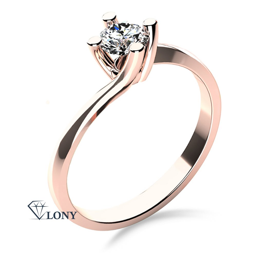 Zásnubní prsten Sivan, růžové zlato se zirkonem