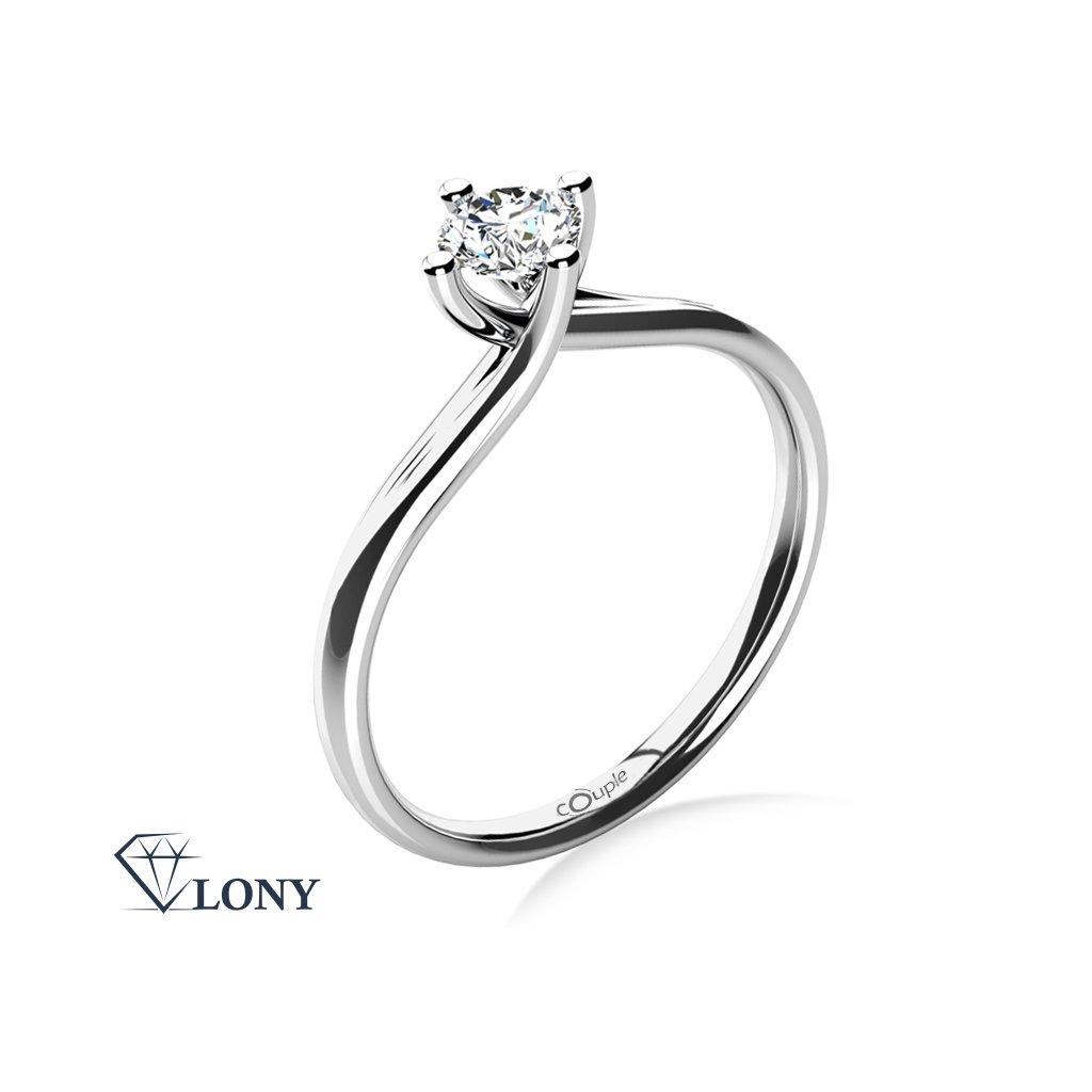 Celia – zásnubní prsten z bílého zlata se zirkonem