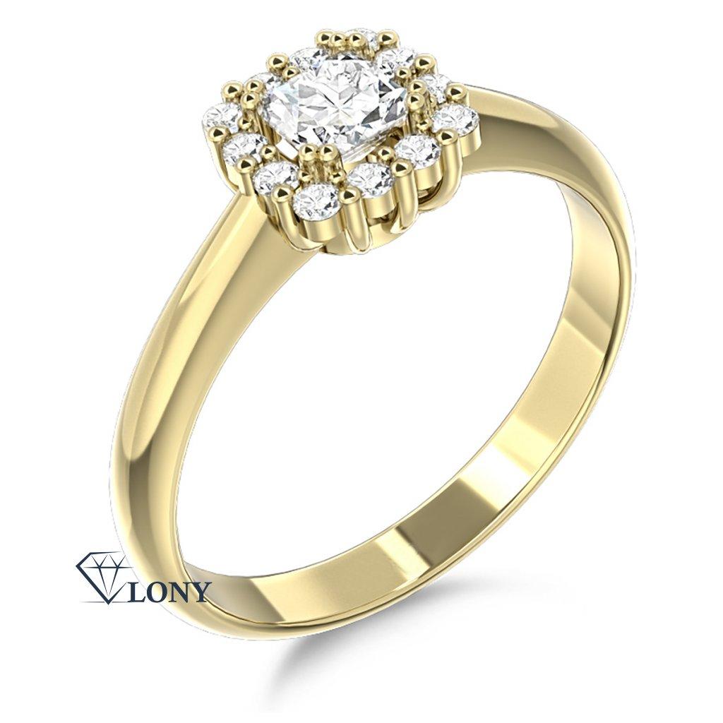 Elegantní prsten Clara, žluté zlato se zirkony