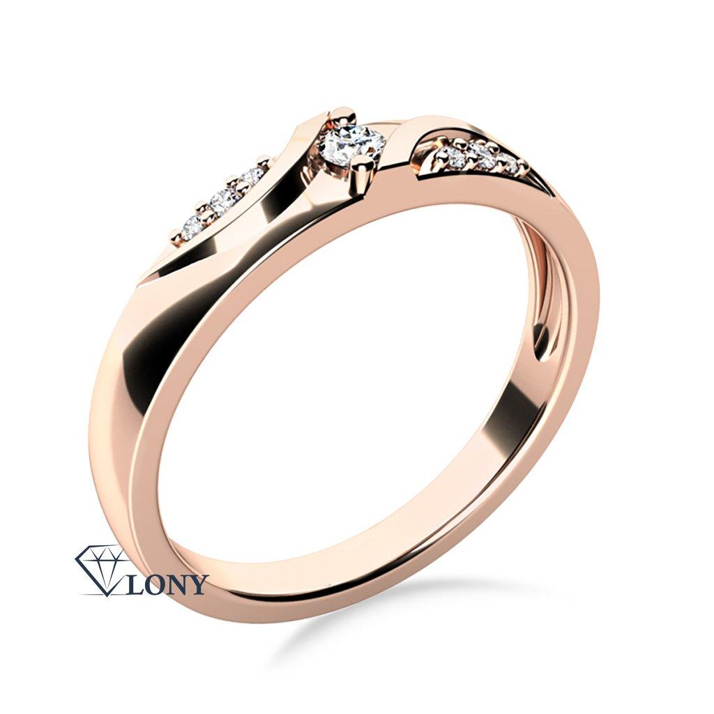 Moderní zásnubní prsten Peyton, růžové zlato se zirkony