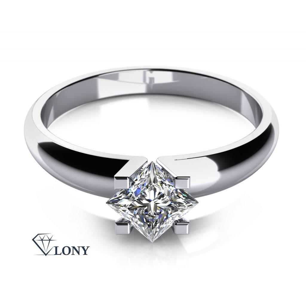Zásnubní prsten Yvonne, bílé zlato a zirkon