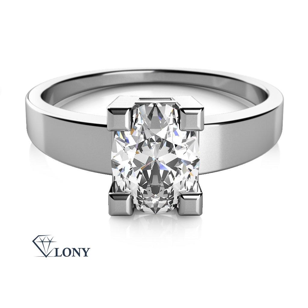 Zásnubní prsten Terri, bílé zlato a zirkon