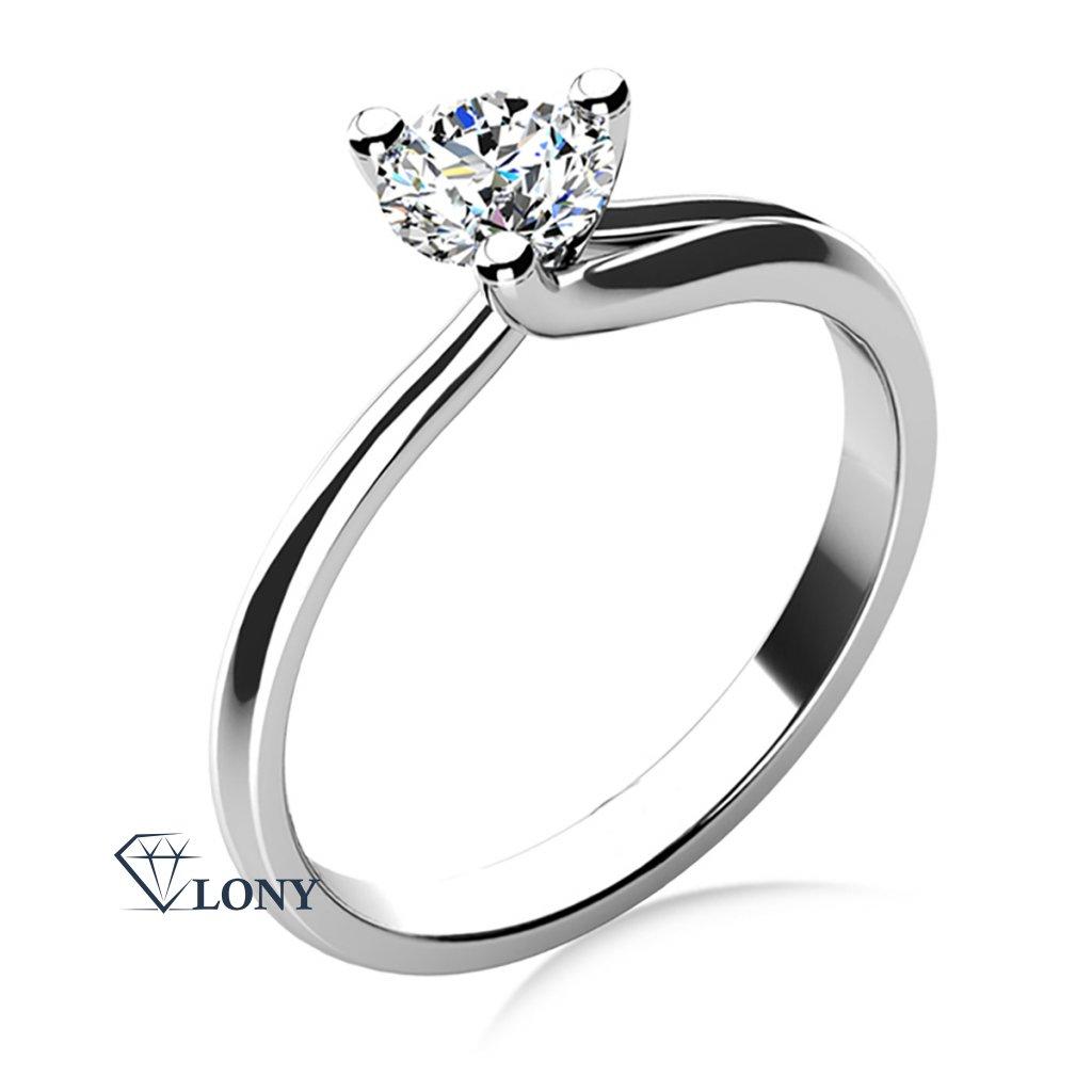 Okouzlující zásnubní prsten Mai, bílé zlato a zirkon