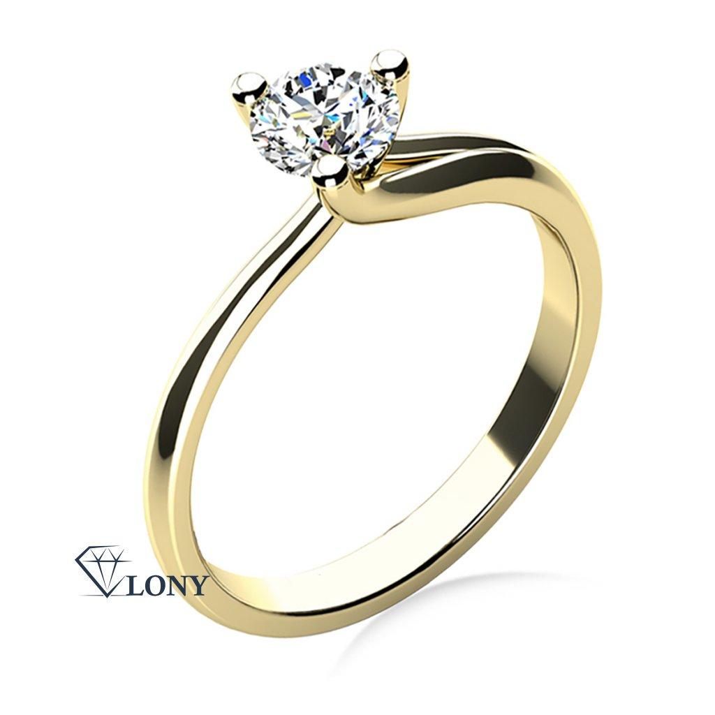 Okouzlující zásnubní prsten Mai, žluté zlato a zirkon