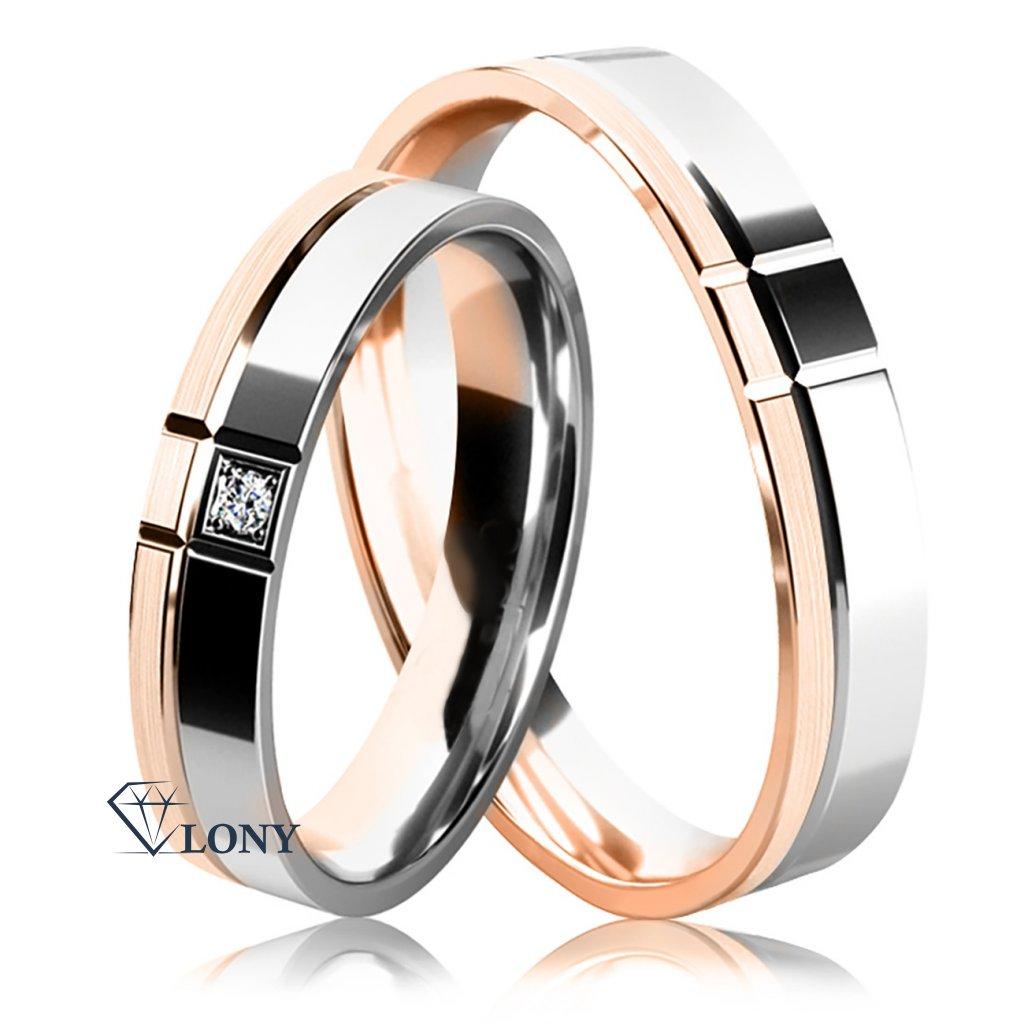 Snubní prsteny, bílé a růžové  zlato s diamantem