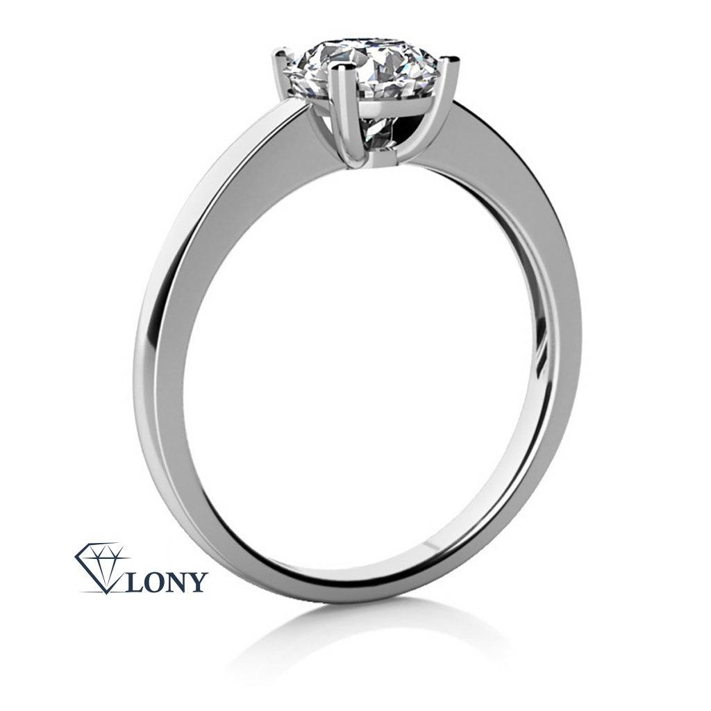 Zásnubní prsten Lydia z bílého zlata se zirkonem