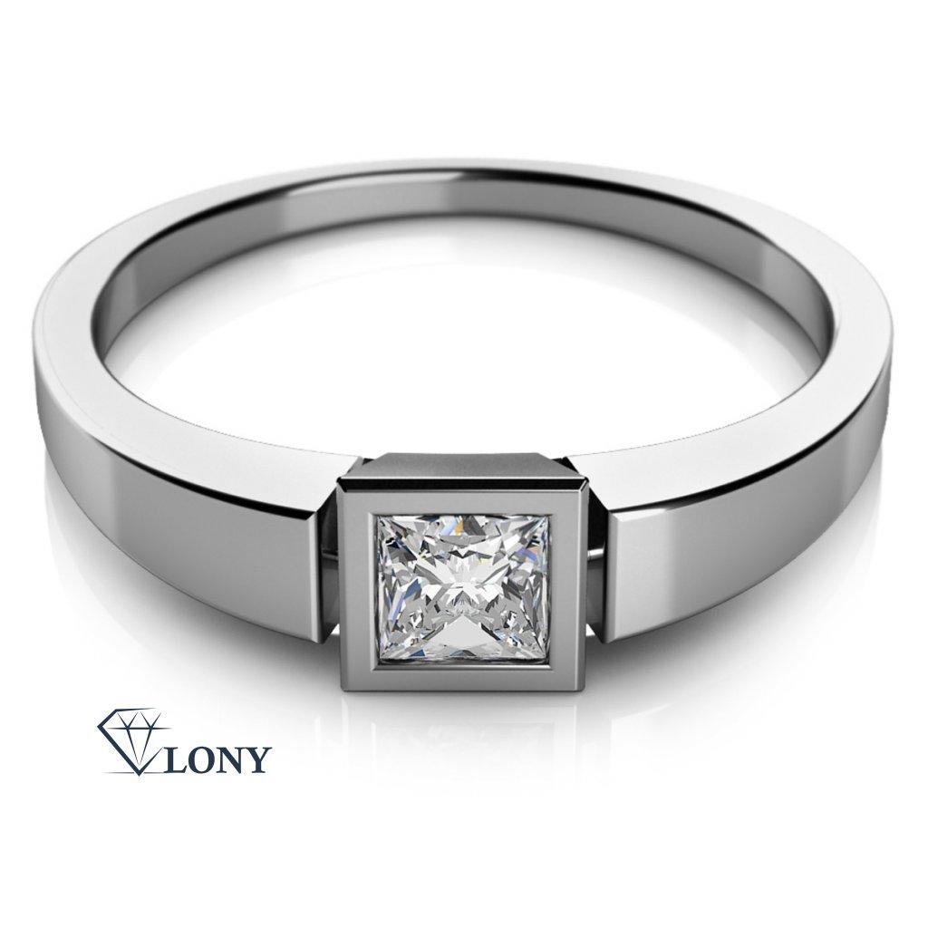 Minimalistický prsten Ena z bílého zlata