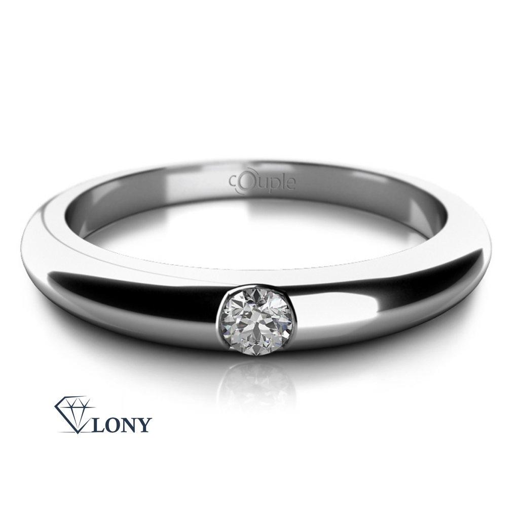 Decentní prsten Niko, bílé zlato a zirkon