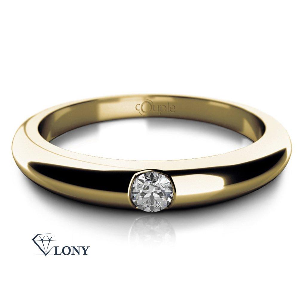 Decentní prsten Niko, žluté zlato a zirkon
