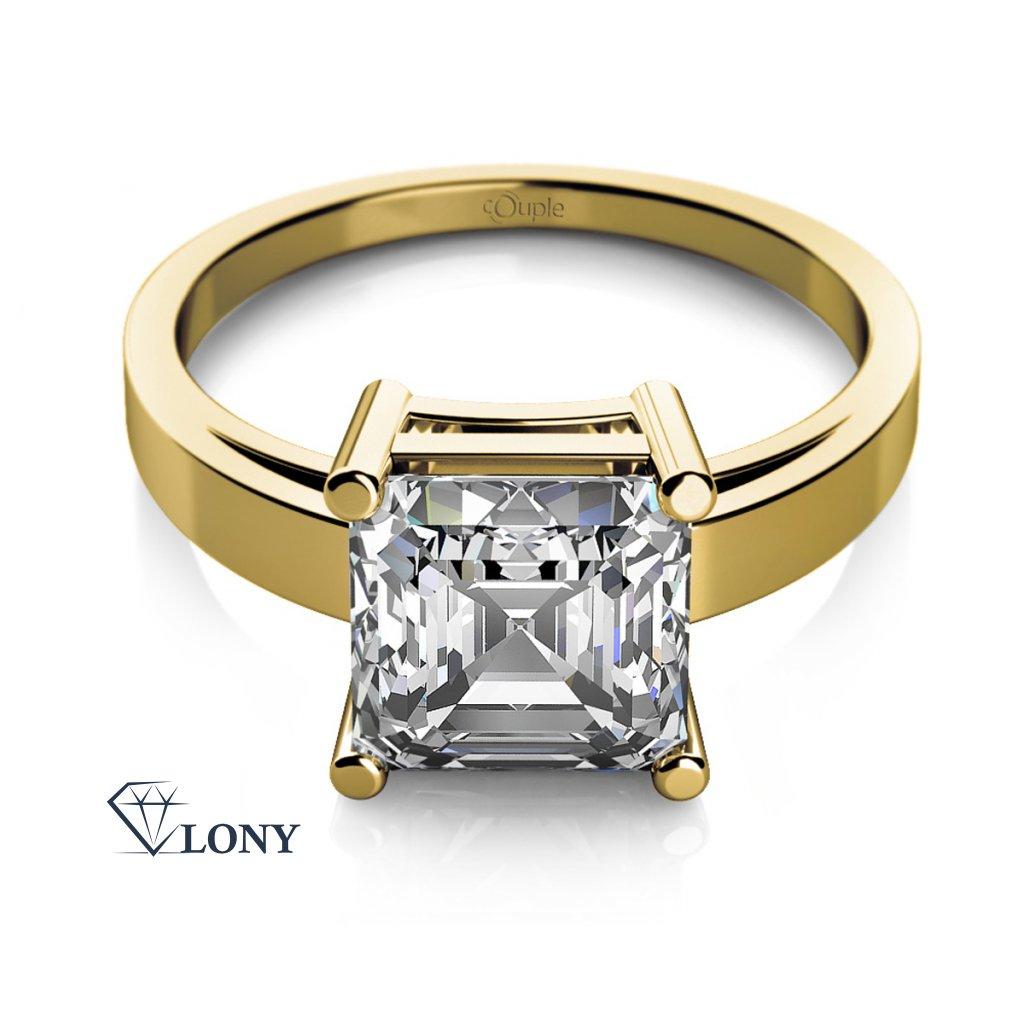 Zásnubní prsten Ada, žluté zlato a výrazný zirkon