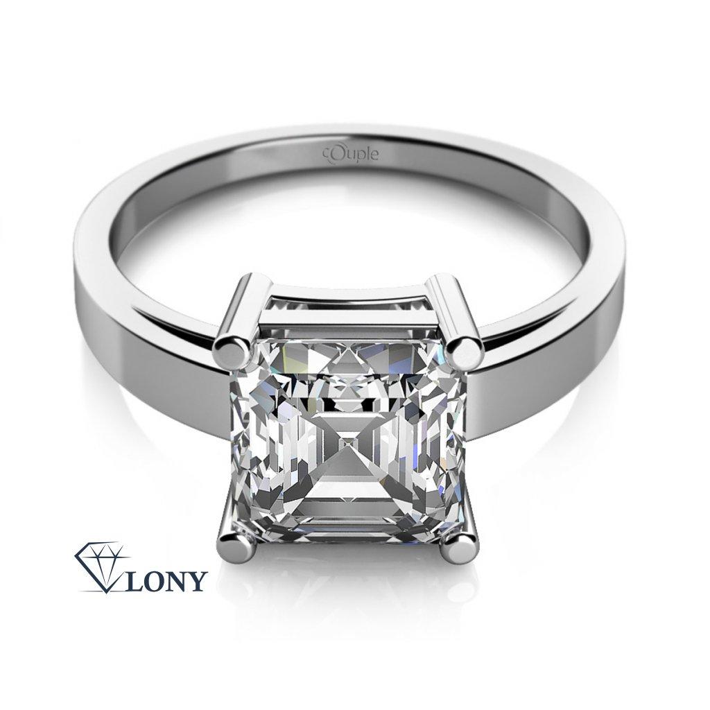 Zásnubní prsten Ada, bílé zlato a výrazný zirkon