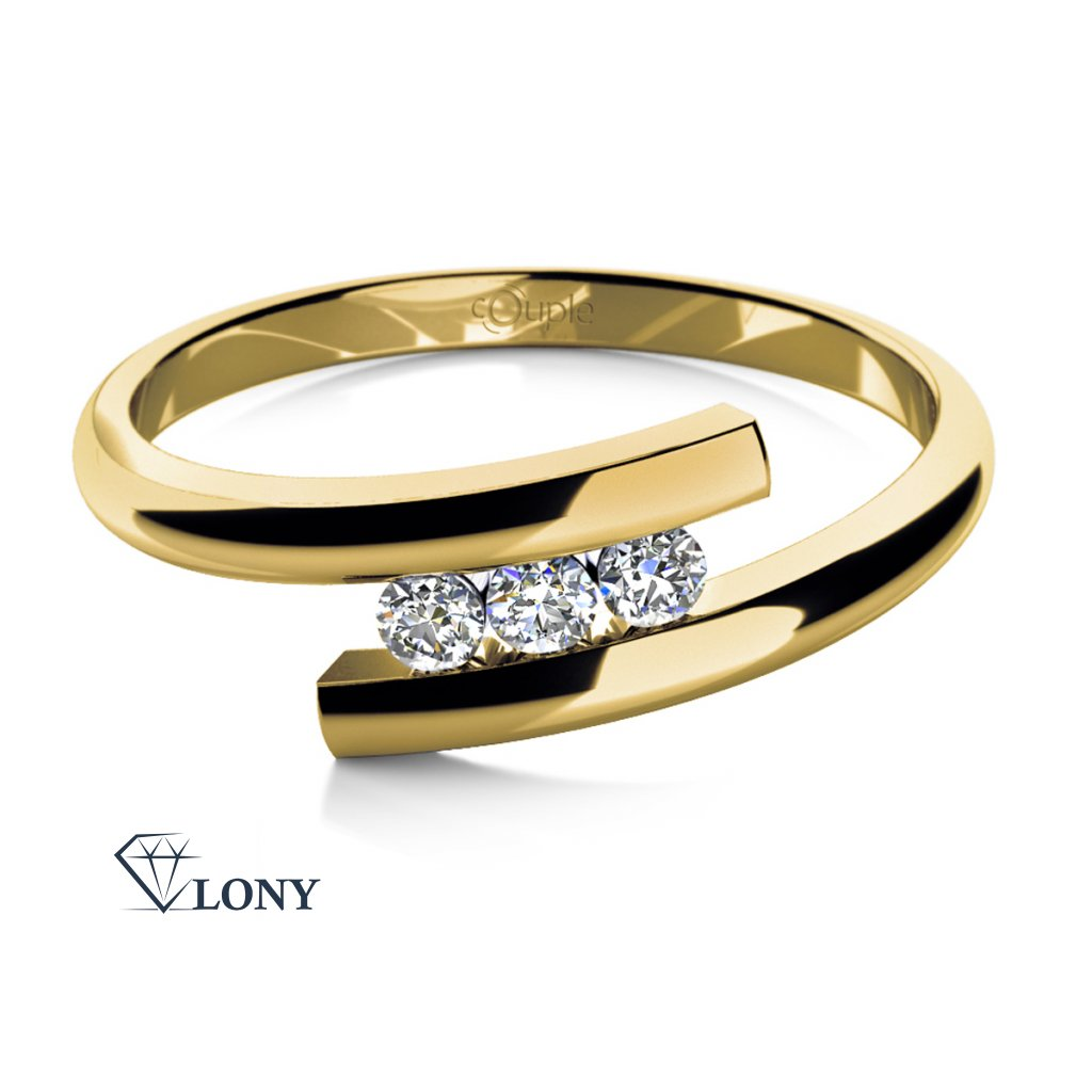 Módní prsten Vera ve žlutém zlatě se zirkony
