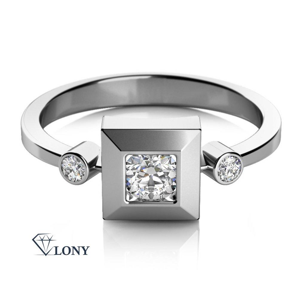 Prsten Ima v bílém zlatě se zirkony