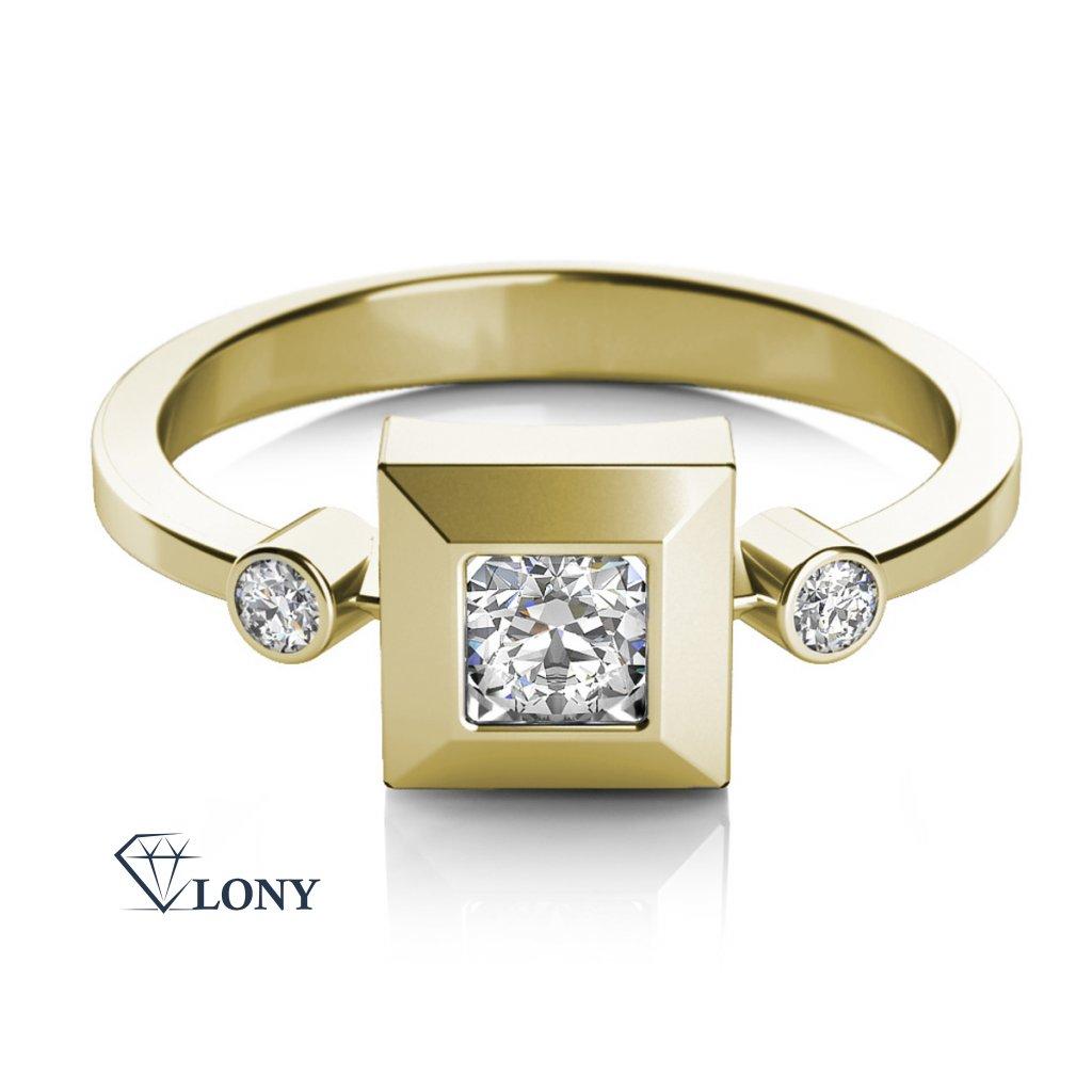 Prsten Ima ve žlutém zlatě se zirkony