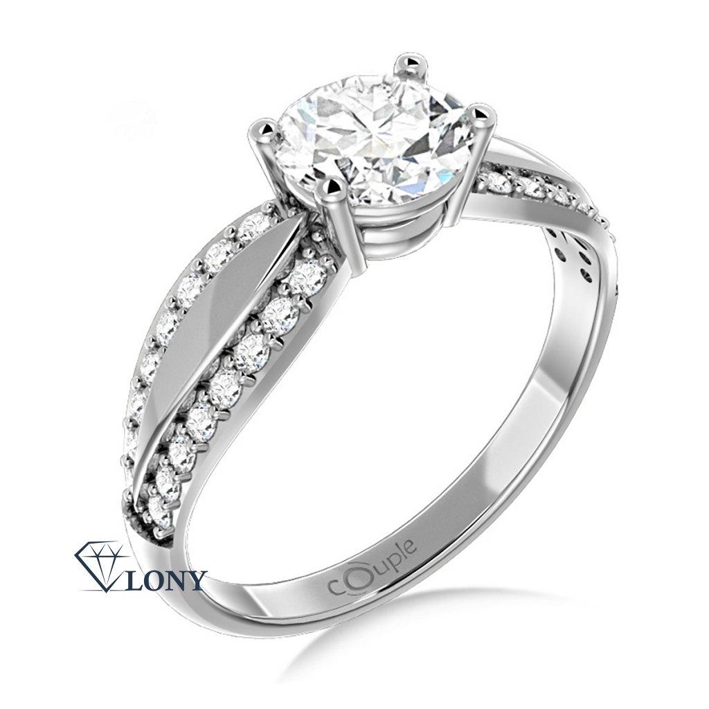 Oslnivý prsten Gemima, bílé zlato se zirkony
