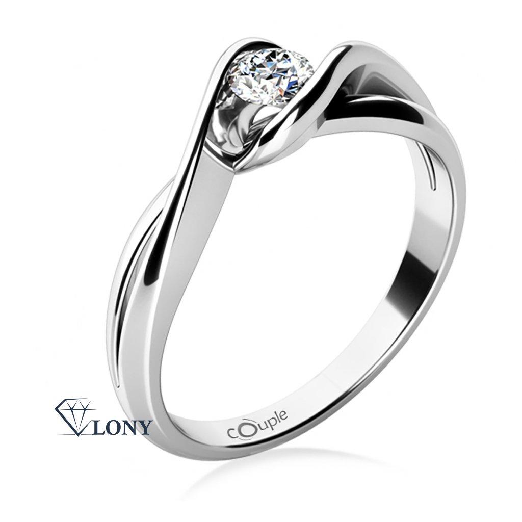 Působivý zásnubní prsten Annie, bílé zlato a zirkon