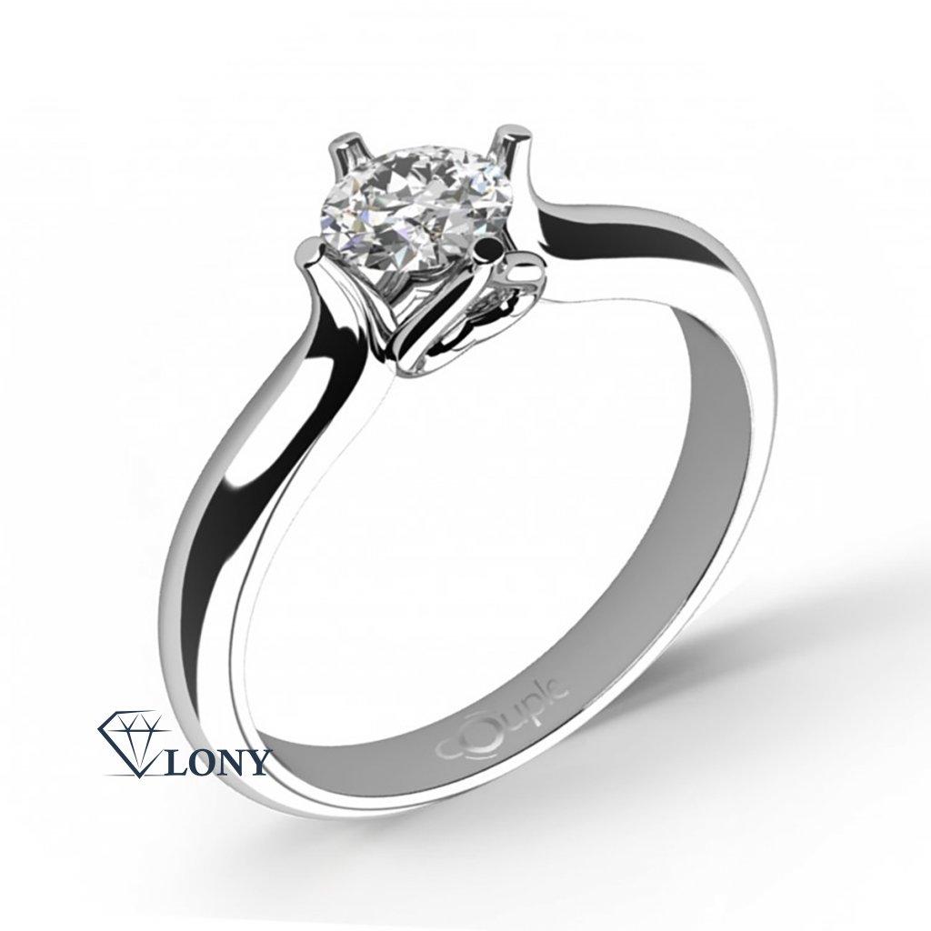 Ikaria – Zásnubní prsten z bílého zlata se zirkonem