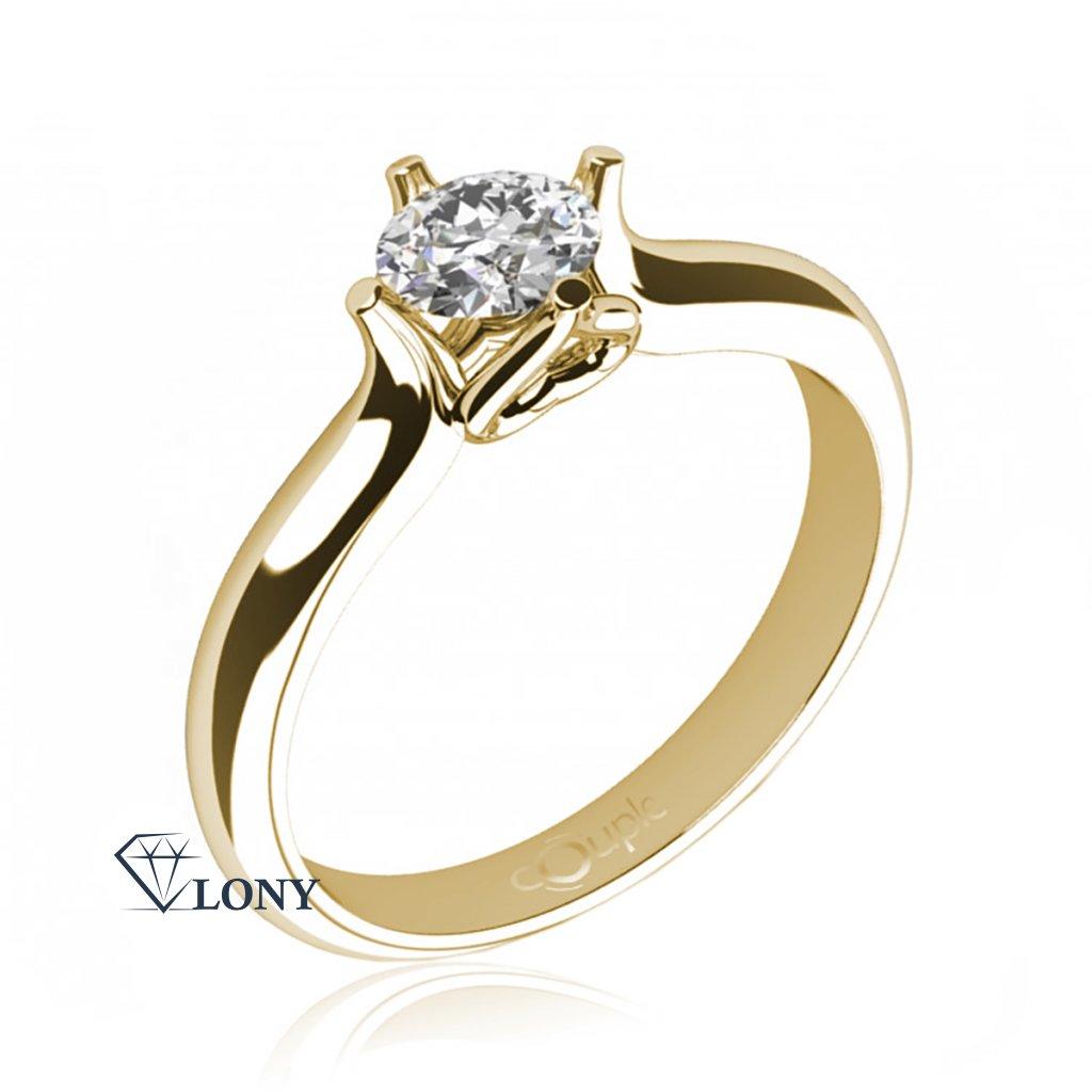 Ikaria – Zásnubní prsten ze žlutého zlata se zirkonem