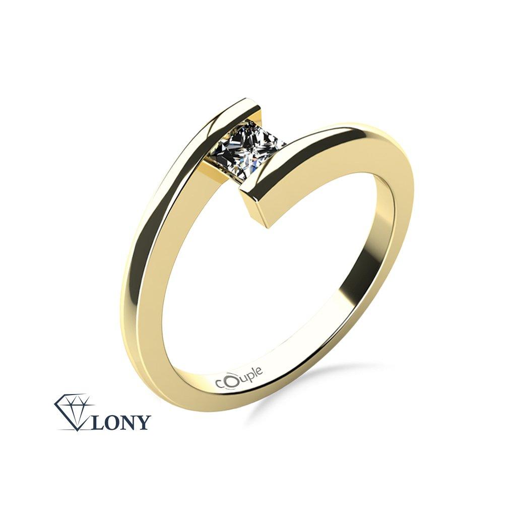 Zásnubní prsten Luise, žluté zlato se zirkonem