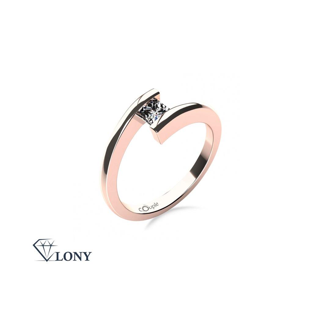 Zásnubní prsten Luise, růžové zlato se zirkonem