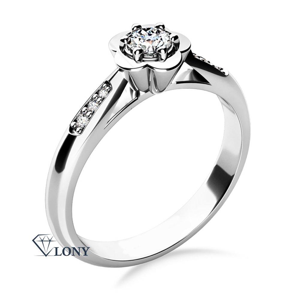Květinový zásnubní prsten Rami, bílé zlato a zirkony