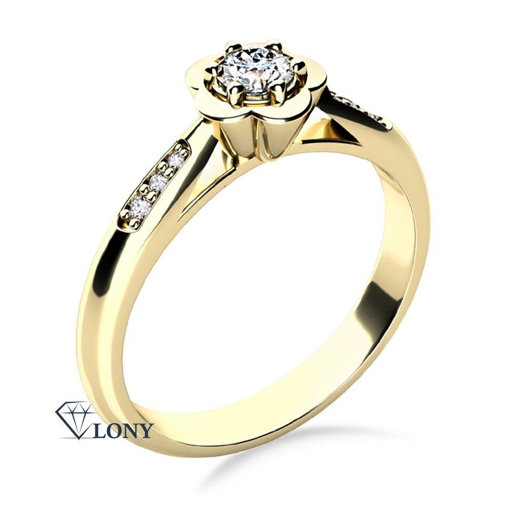 Květinový zásnubní prsten Rami, žluté zlato a zirkony