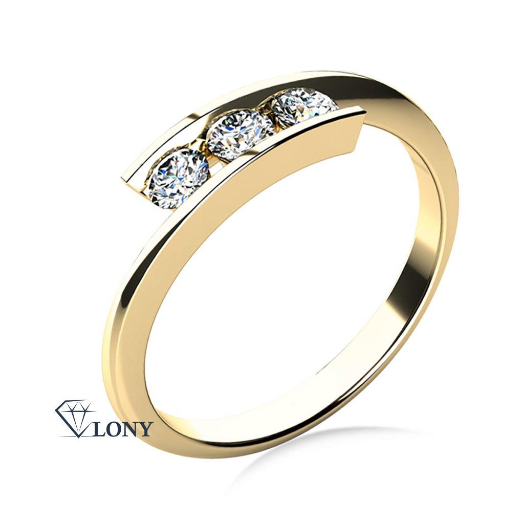 Zásnubní prsten Seraphine, žluté zlato a zirkony
