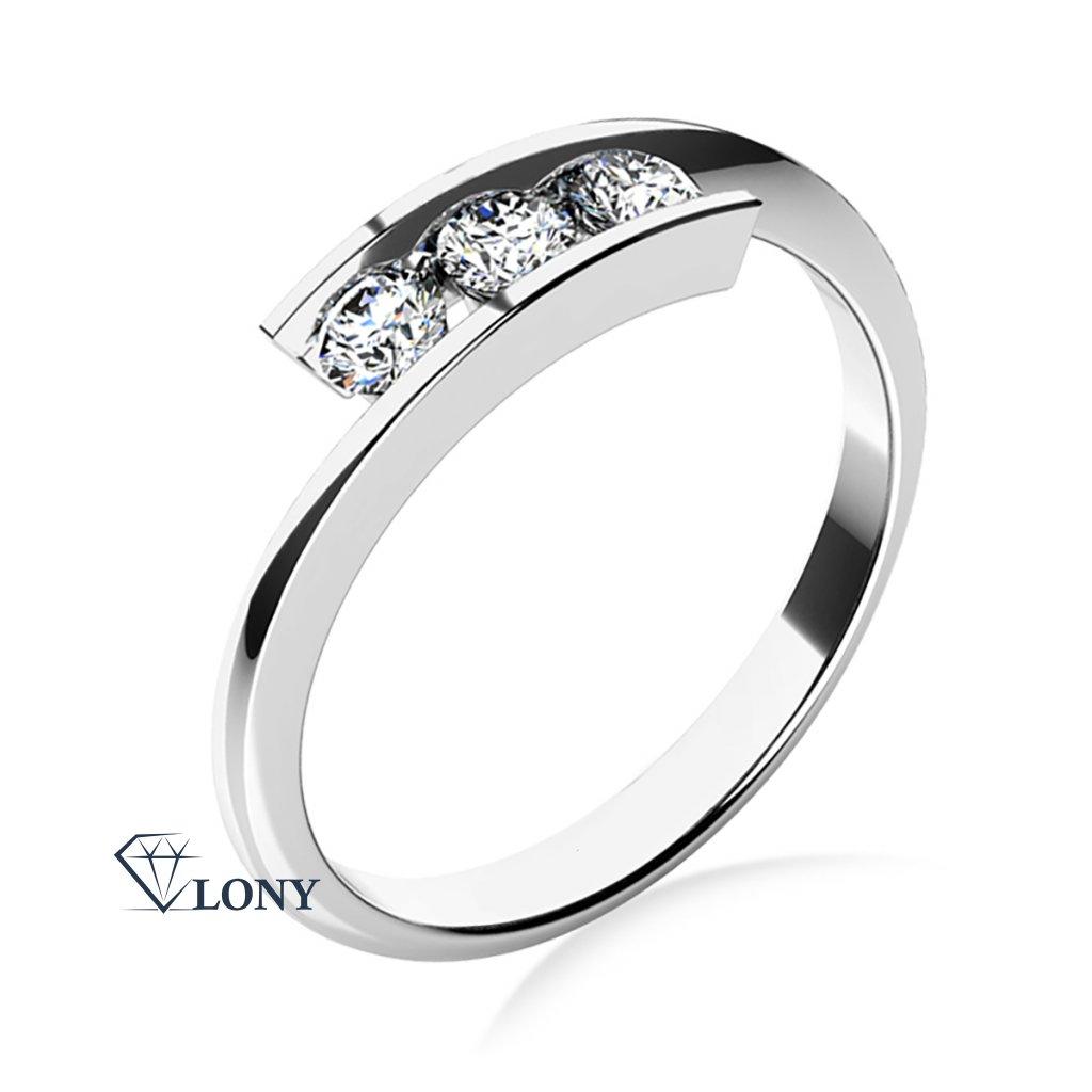 Zásnubní prsten Seraphine, bílé zlato a zirkony