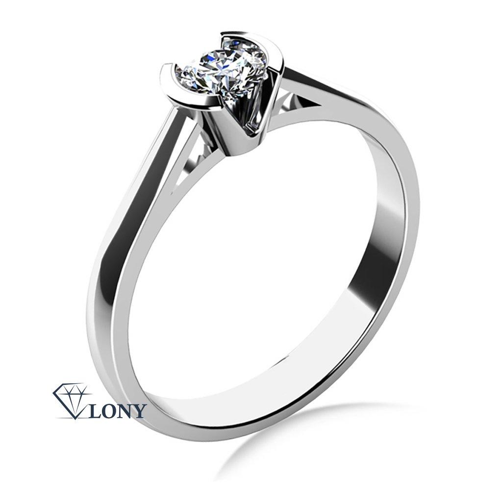 Zásnubní prsten Daria, bílé zlato se zirkonem