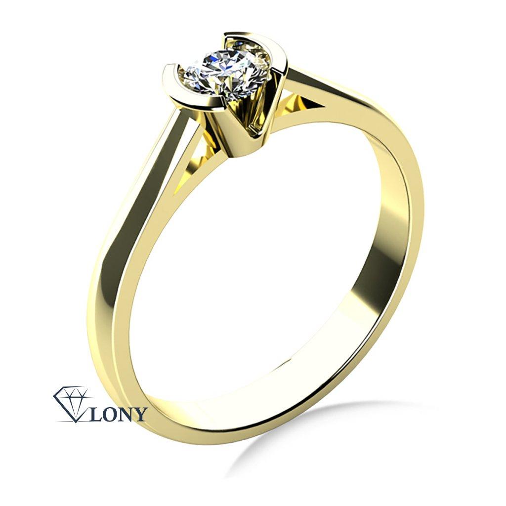 Zásnubní prsten Daria, žluté zlato se zirkonem
