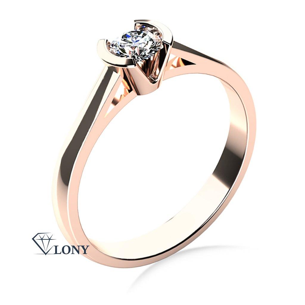 Zásnubní prsten Daria, růžové zlato se zirkonem