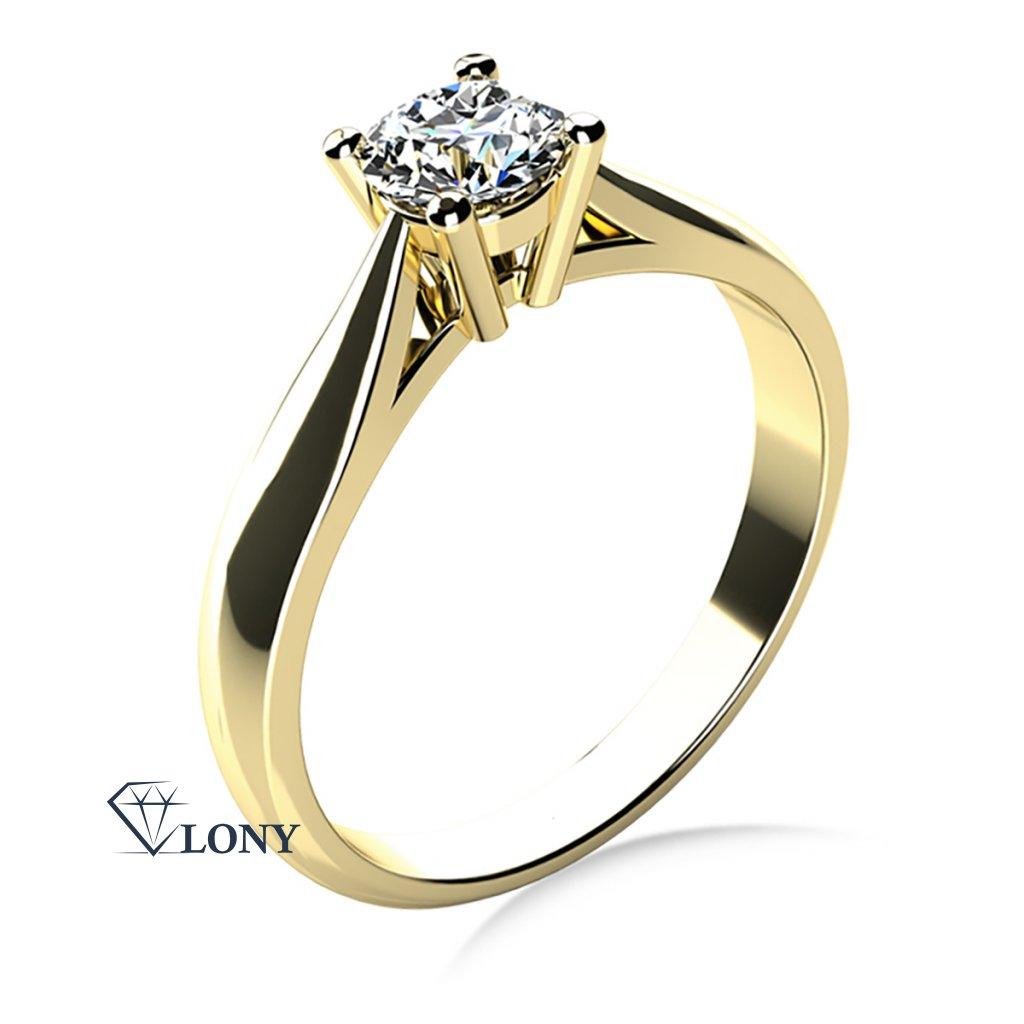 Elegantní zásnubní prsten Rose, žluté zlato a výrazný zirkon