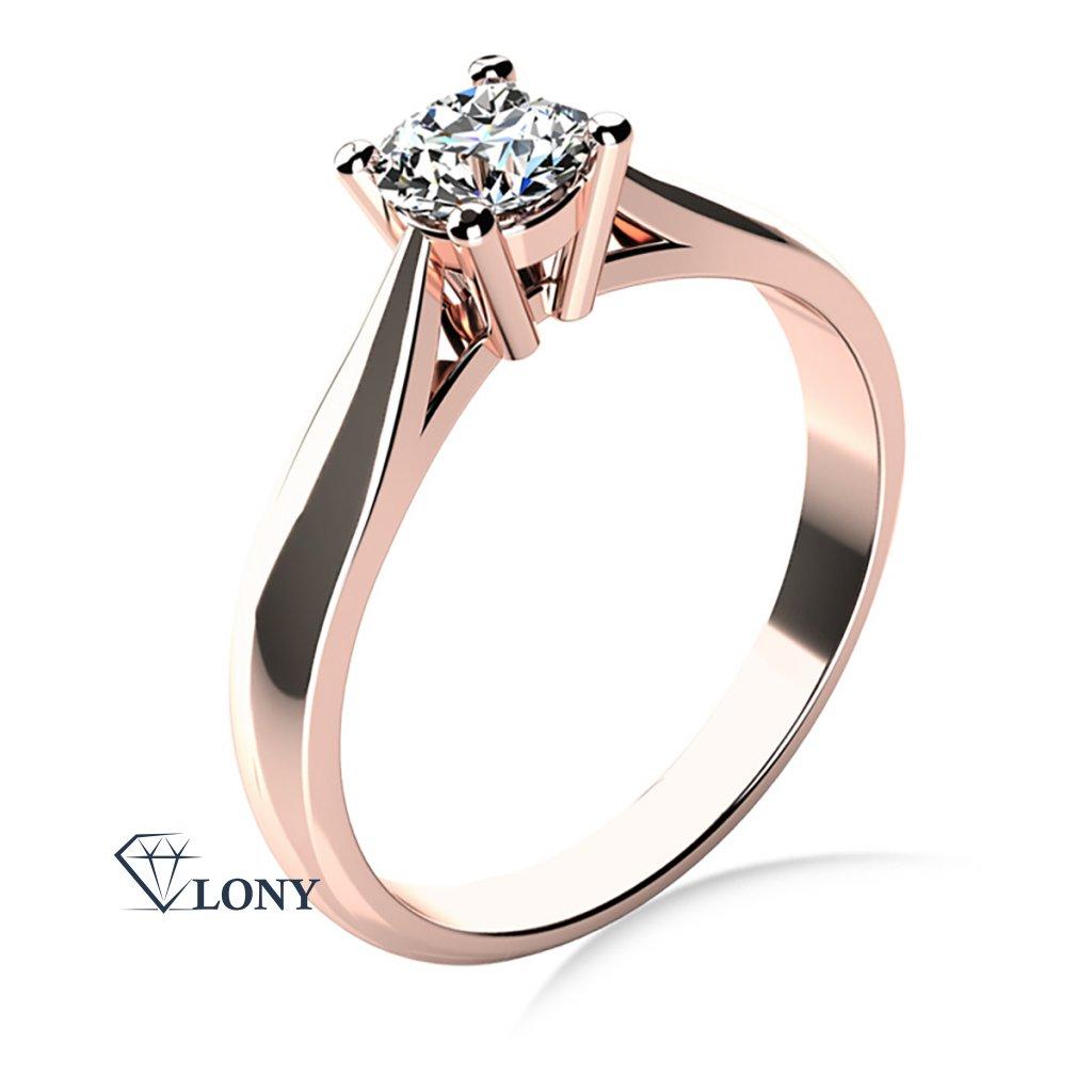Elegantní zásnubní prsten Rose, růžové zlato a výrazný zirkon