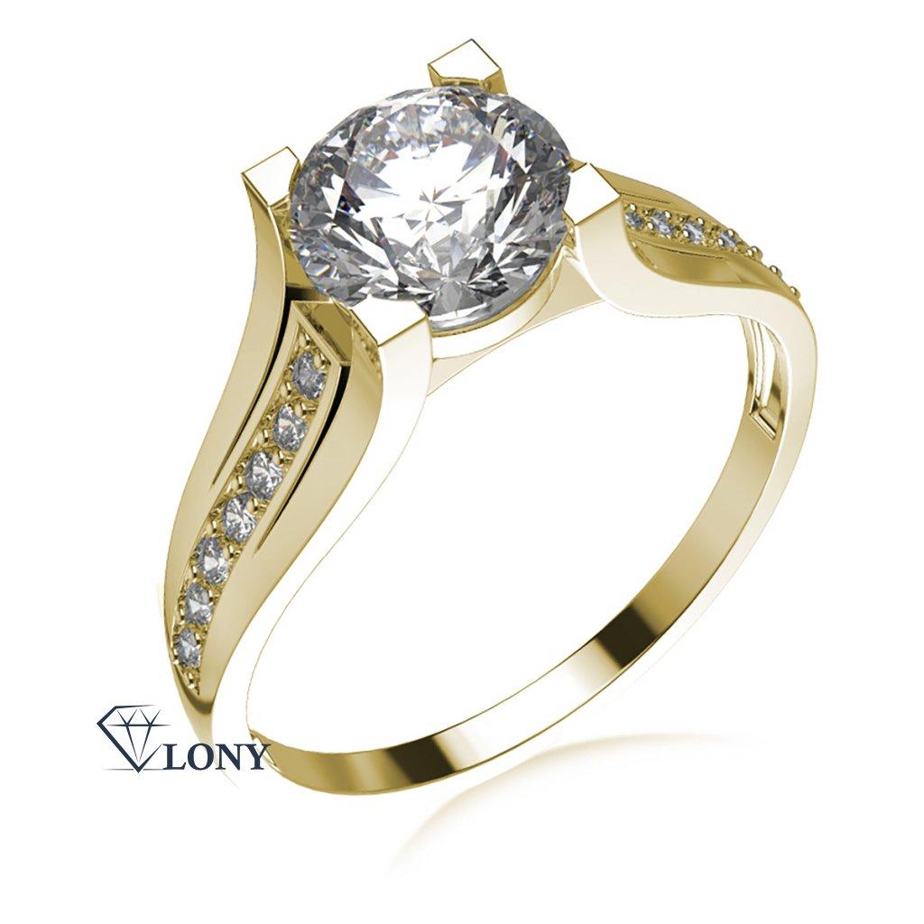 Luxusní zásnubní prsten Merci, žluté zlato a zirkony
