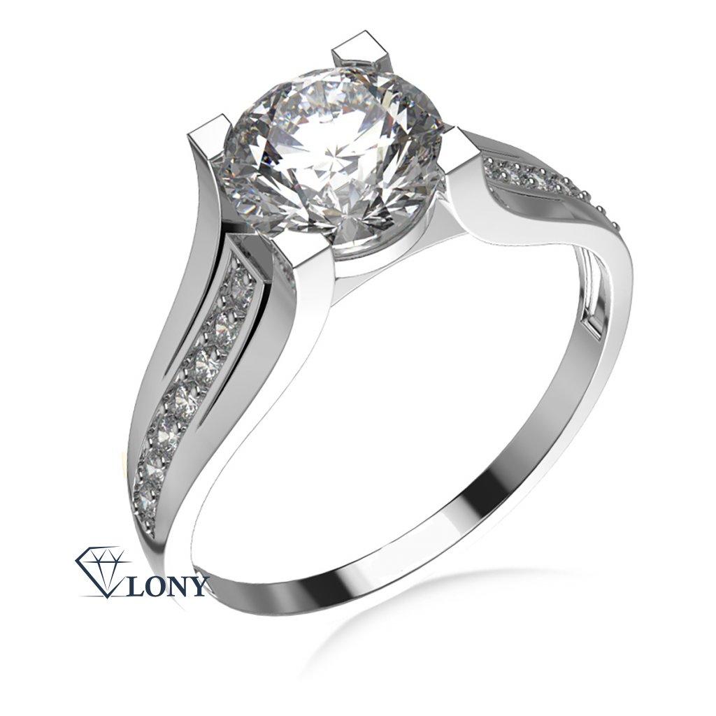 Luxusní zásnubní prsten Merci, bílé zlato a zirkony