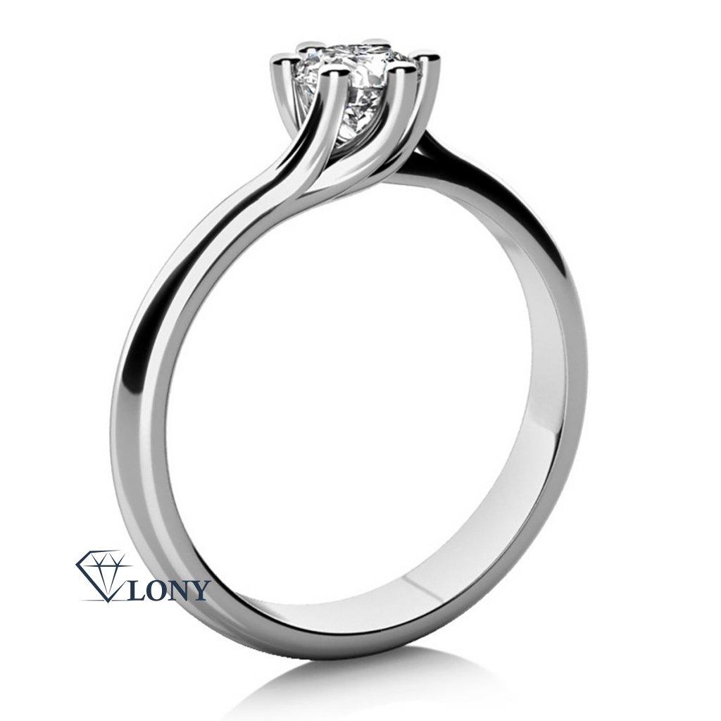 Zásnubní prsten Loraine, bílé zlato a zirkon