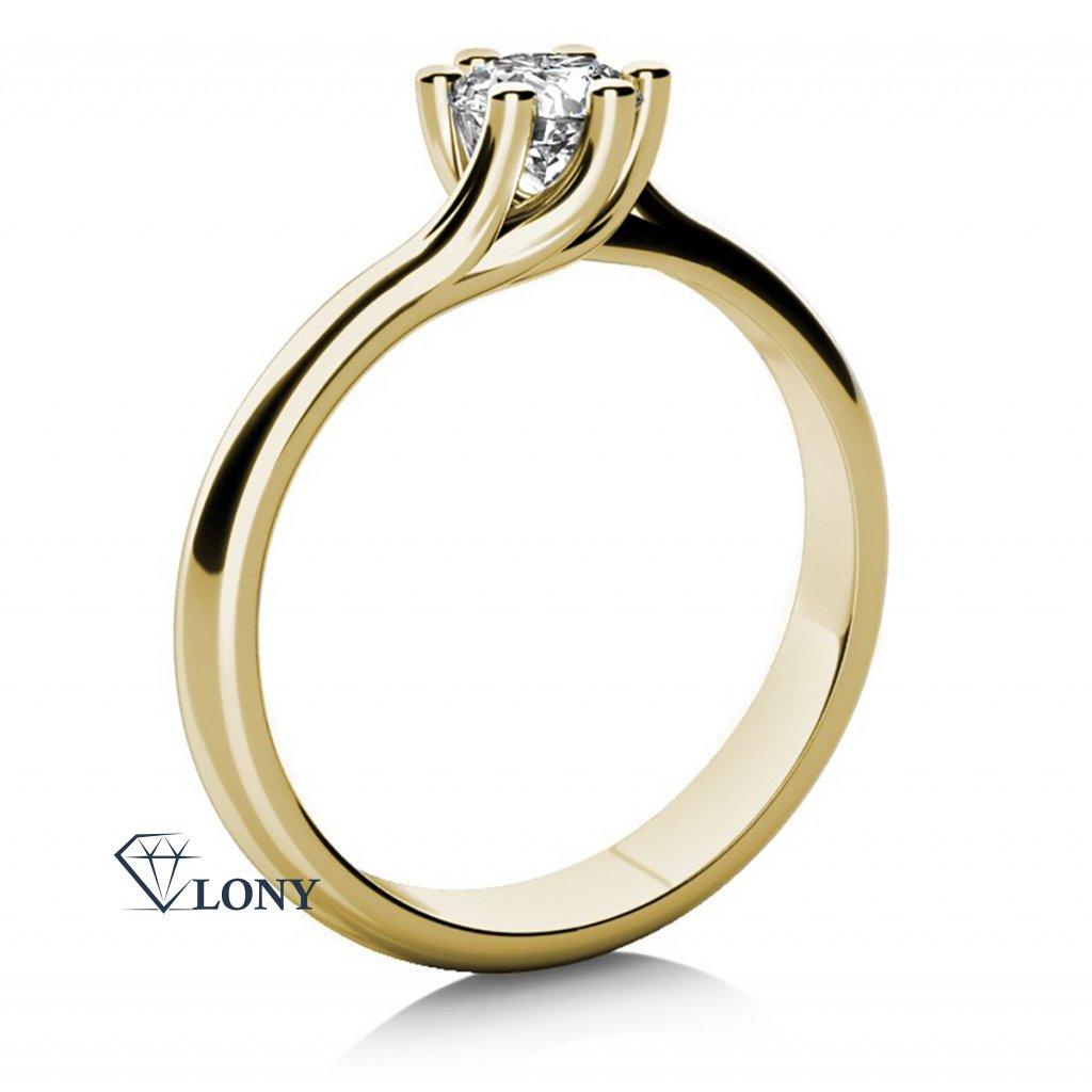 Zásnubní prsten Loraine, žluté zlato a zirkon