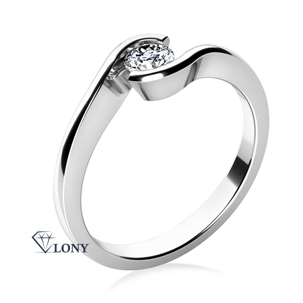 Zásnubní prsten Linette, bílé zlato a výrazný zirkon