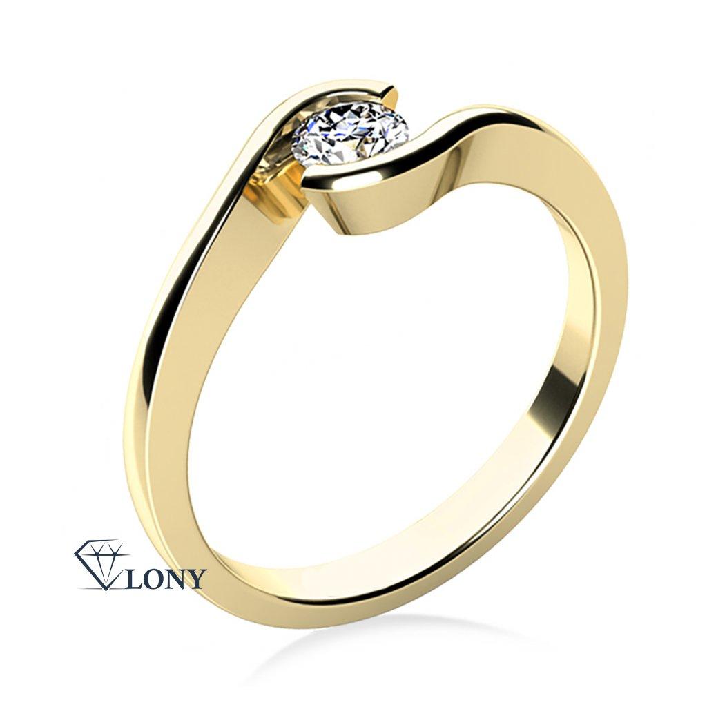 Zásnubní prsten Linette, žluté zlato a zirkon