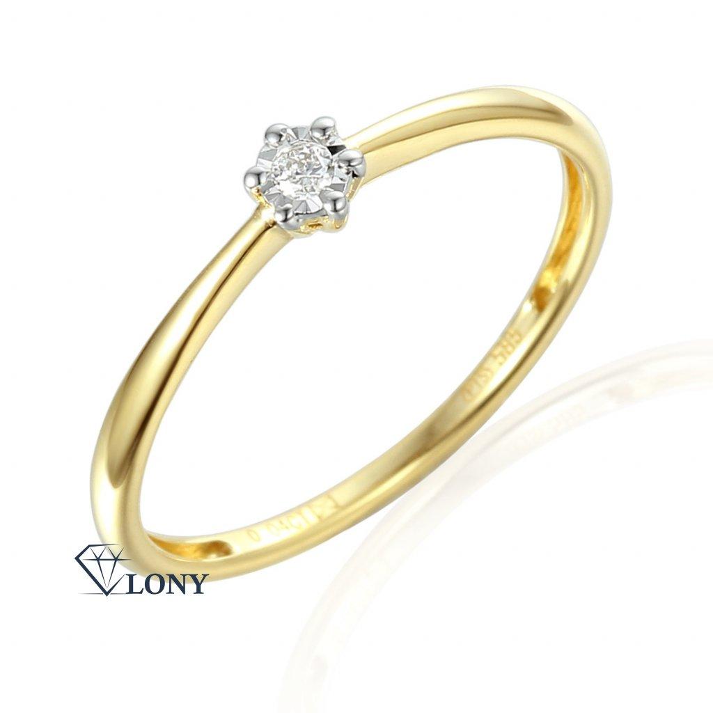Zásnubní prsten Etienne, žluté zlato a briliant
