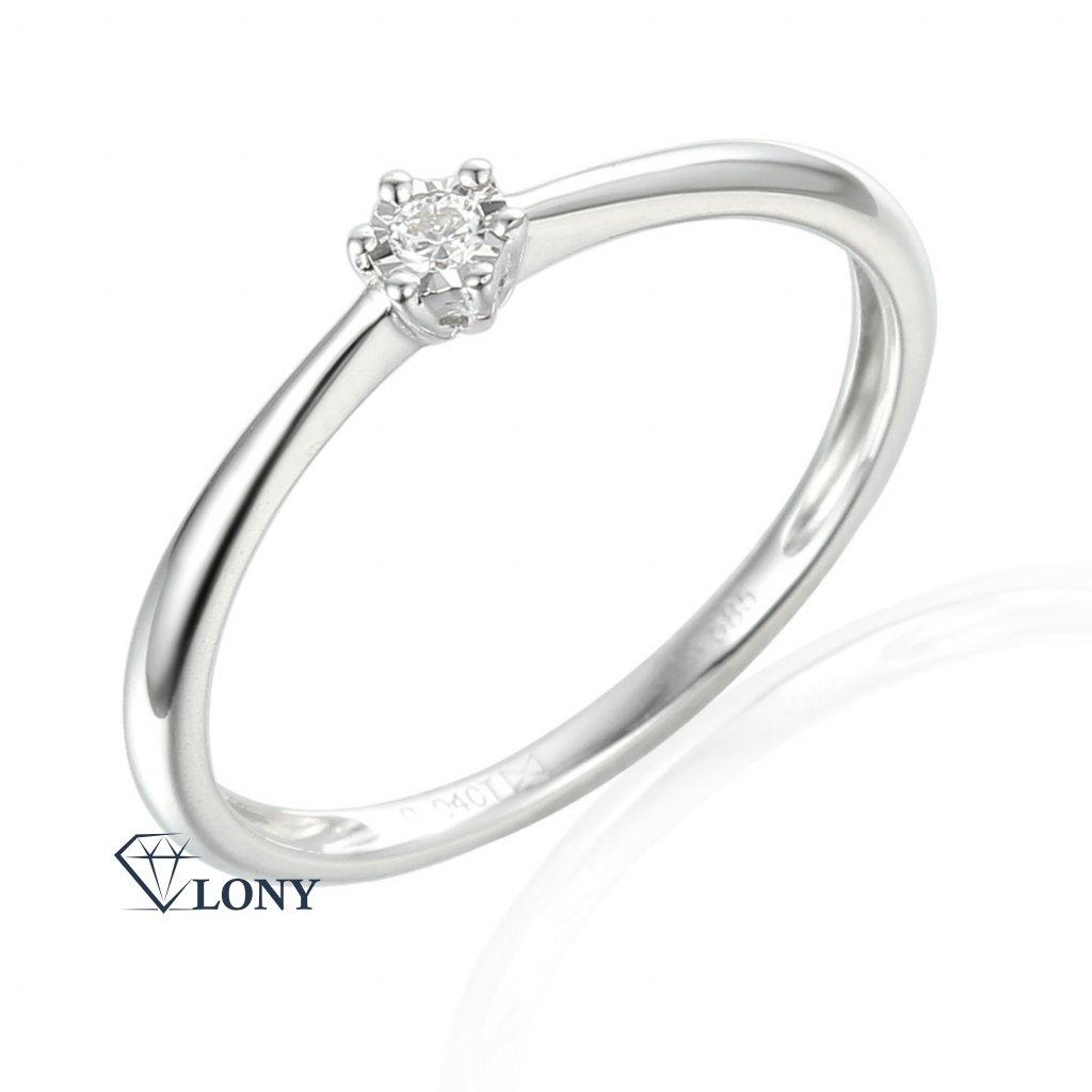 Zásnubní prsten Etienne, bílé zlato a briliant