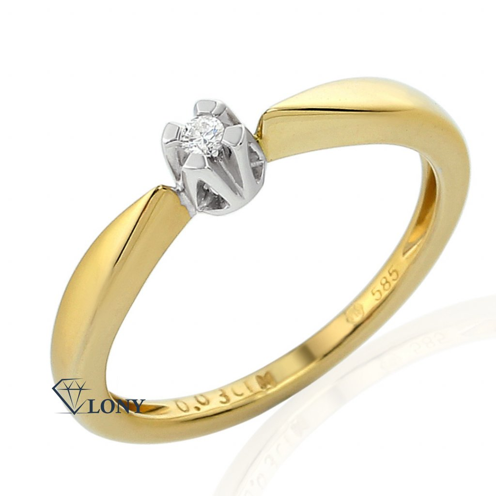 diamantový prsten Libby, v kombinaci žlutého a bílého zlata