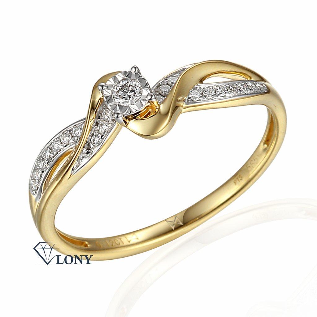 Zajímavý diamantový prsten Zaira, žluté a bílé zlato