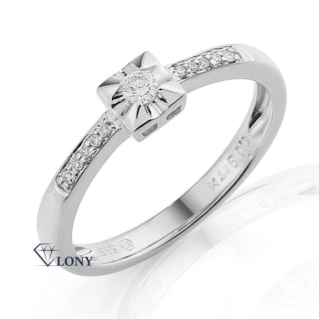 Netradiční zásnubní prsten Cossa, bílé zlato s brilianty