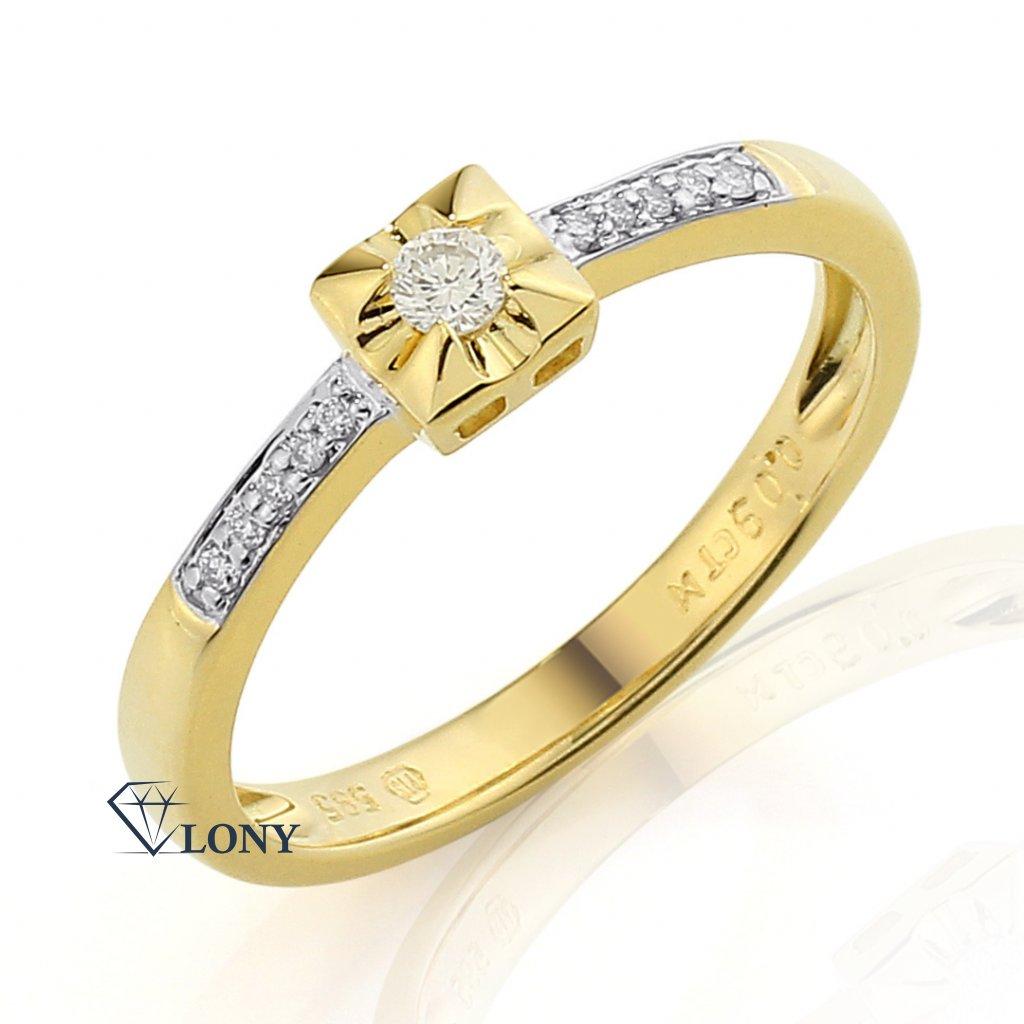 Netradiční zásnubní prsten Cossa, žluté zlato s brilianty