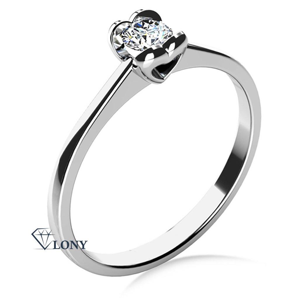 Sophia – Zásnubní prsten z bílého zlata s briliantem prsten, bílé zlato, zirkony