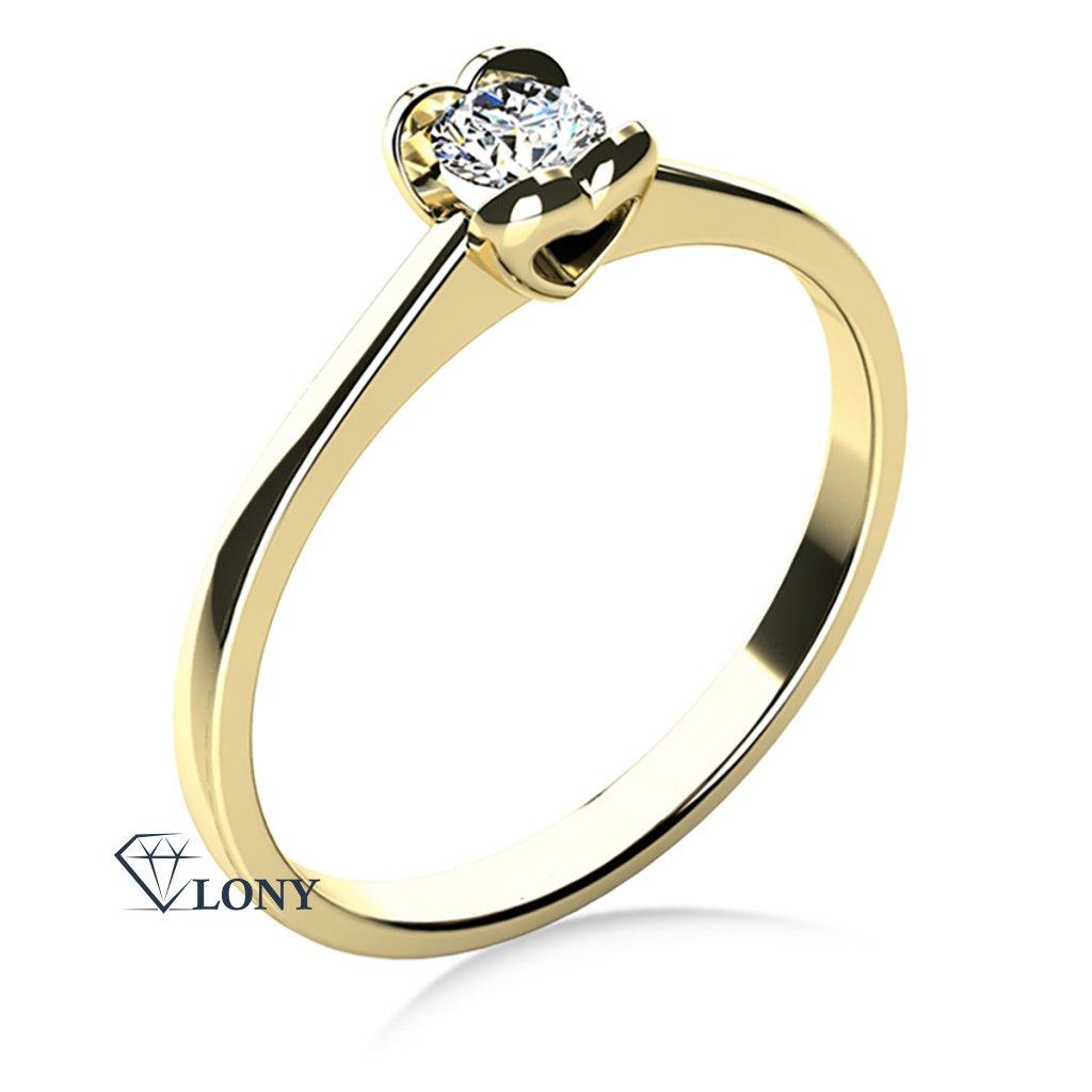 Zásnubní prsten ze žlutého zlata s briliantem