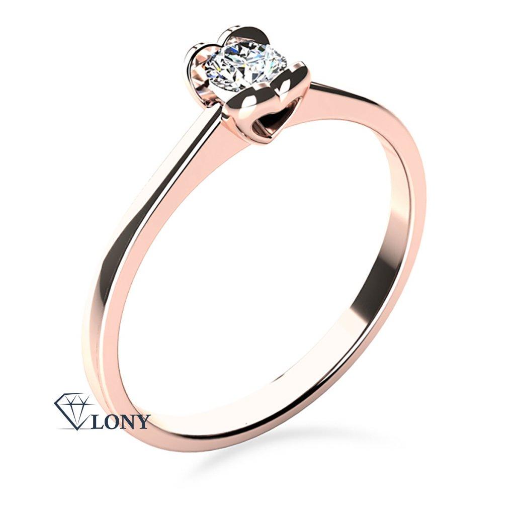 Zásnubní prsten z růžového zlata s briliantem