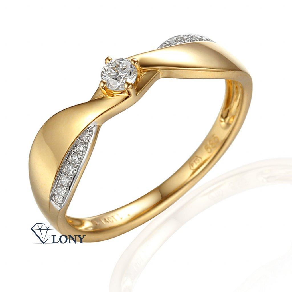 Neobvyklý zásnubní prsten Skylar, žluté zlato s brilianty